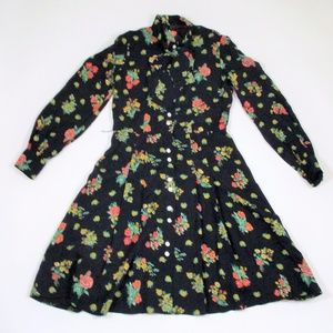 Vtg 50s 40s Navy Floral Pussy Bow Fit Flare Dress